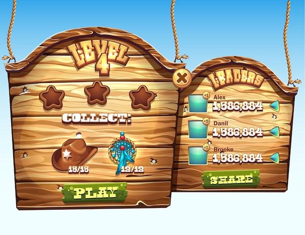 コンピューターゲームのユーザーインターフェイスのレベルを渡すジョブの木製ウィンドウのセット