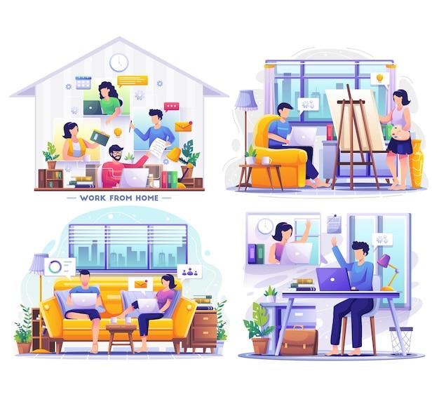 랩톱 장면 그림에서 원격으로 작업하는 사람들과 집에서 일하는 세트