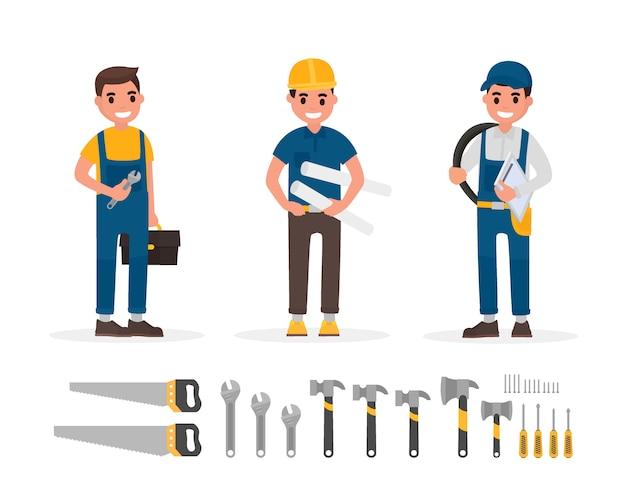 フラットスタイルの図に労働者と手のツール要素のセット。