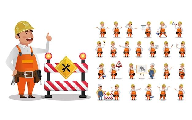 Набор работника с разными эмоциями