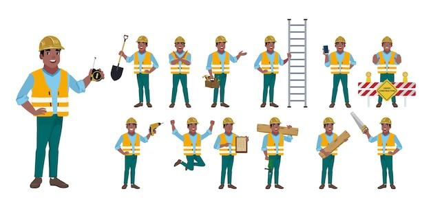 さまざまなポーズの労働者のセット