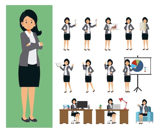 Набор работающей деловой женщины. деловая женщина, работающая в офисе, в персонажах плоских людей.