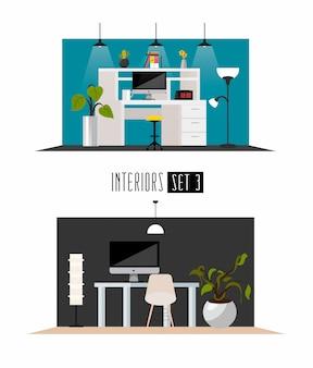 평면 미니멀리즘 스타일의 작업 인테리어 세트. 직장 또는 비즈니스 인테리어