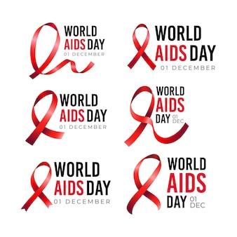 世界エイズデーラベルのセット