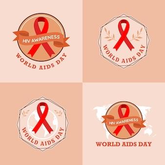 Набор всемирного дня борьбы со спидом логотип шаблон векторные иллюстрации на коричневом фоне
