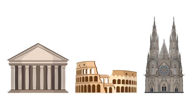 白い背景に分離された世界のランドマークのセット。ローマのコロシアムとパンテオン。プラハの聖ヴィート大聖堂。
