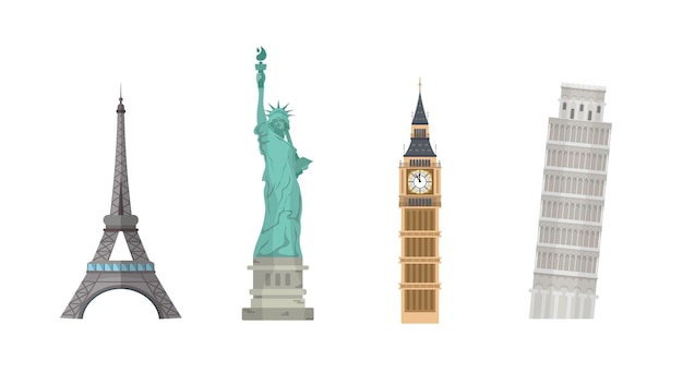 흰색 배경에 고립 된 세계 랜드 마크의 집합입니다. 에펠 탑, 자유의 여신상, 피사의 사탑, 빅벤.