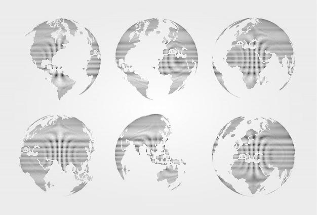 Набор карт мира. пунктирный стиль