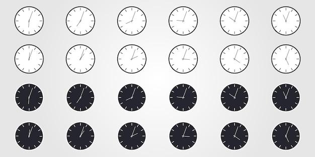 세계 시간의 집합입니다. 평면 스타일의 간단한 시계 아이콘입니다. 벡터 디자인 개체입니다.
