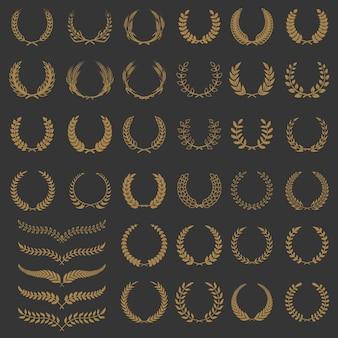 花輪と枝のセット。ロゴ、ラベル、エンブレム、バッジ、サインの要素。図。