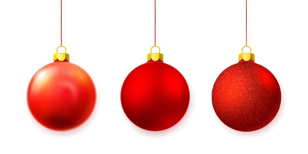 白で隔離のクリスマスガラスボールのセット Premiumベクター