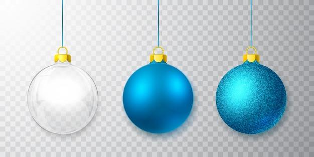 透明な背景にクリスマスガラスボールのセット