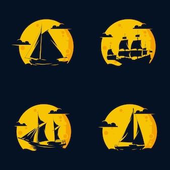黒の背景に波と月とヨットのロゴのセット