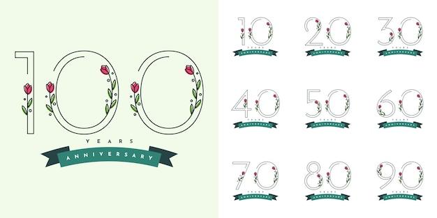 Набор лет юбилей с цветами illustraion шаблон