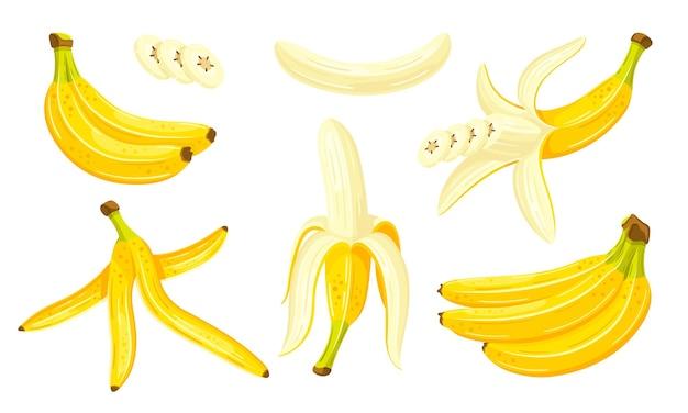分離された黄色いバナナのセット