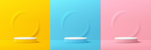 Набор из желтого, синего, розового, белого 3d цилиндра пьедестала подиума с тиснением в форме кольца с пастельным цветовым фоном