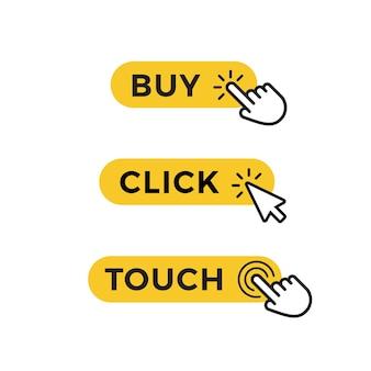 구매, 선택 또는 등록을 위한 노란색 버튼 세트입니다. 웹 디자인을 위한 그래픽 요소입니다. 벡터 아이콘 프리미엄 벡터