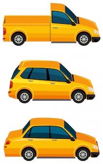 白い背景の上の黄色の車のセット