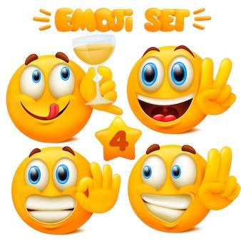 고립 된 3d 스타일에서 다른 얼굴 표정으로 노란색 이모티콘 아이콘 이모티콘 만화 캐릭터의 집합