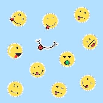 노란색 이모티콘 패치 세트입니다. 맛있는, 핥기, 바느질, 바느질, 컷아웃, 농담, 기쁨, 슬픔, 우울증, 프로필의 개념. 파란색 배경에 평면 스타일 트렌드 현대 로고 그래픽 디자인 벡터 일러스트 레이 션