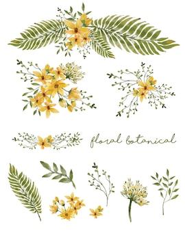 별도의 꽃과 노란색 꽃 손으로 그린 수채화 세트