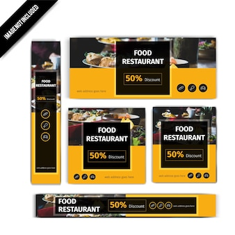 Set of Yellow Food Restaurant Banner