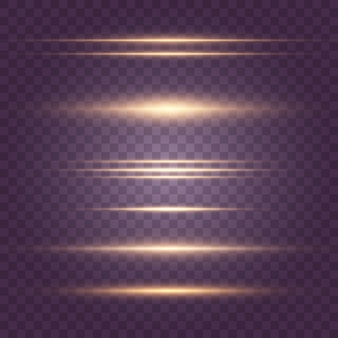 黄色の水平レンズフレアパックのセット。レーザー光線、水平光線、美しい光フレア。暗い背景に輝く縞。明るい抽象的な輝く並ぶ背景。 eps 10