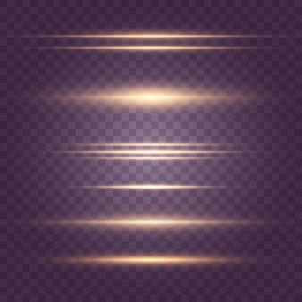 黄色の水平レンズフレアパックのセット。レーザー光線、水平光線。美しい光のフレア。暗い背景に輝く縞。明るい抽象的なきらめく裏地付きの背景。
