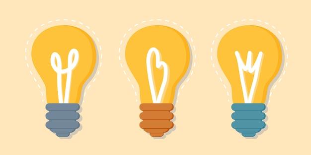 アイデア、エネルギー、インスピレーションを表す黄色の電球のセット。感情的なバーンアウト、創造的思考の概念。