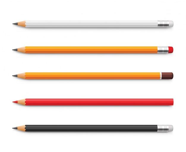 Набор желтых карандашей, красных и черных, заточенных резинкой и без.