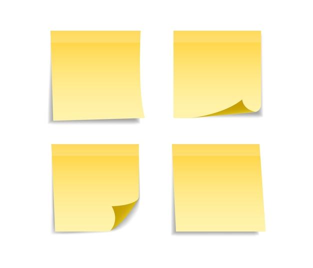 메시지에 대 한 노란색 스티커 세트입니다.