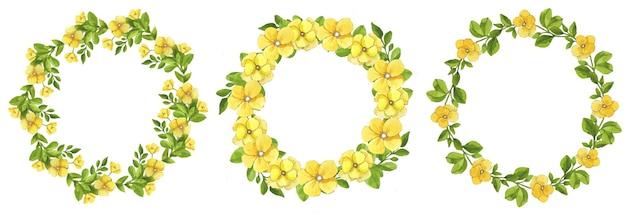노란색 수채화 화 환 화 환 세트