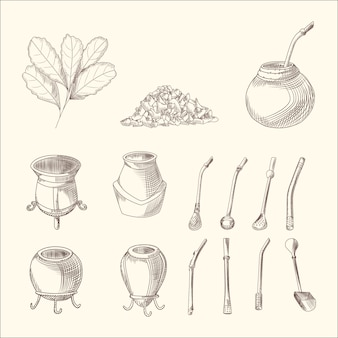 Набор йерба мате чайная ветка, калебас и бомбилла
