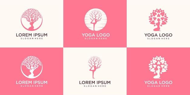 Набор логотипа йоги, медитации женщины в естественном месте.