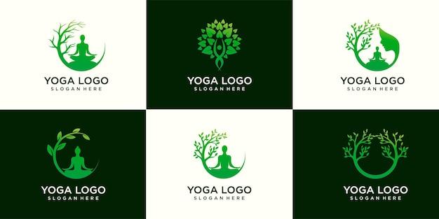 Набор вектора логотипа йоги, медитация женщин в естественном месте.
