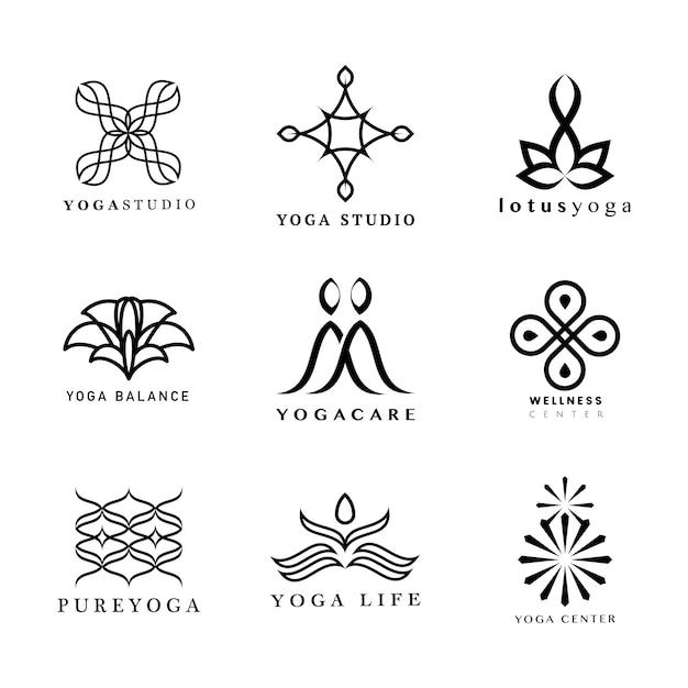 Набор логотипов йоги