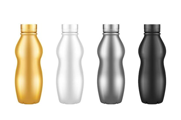 ヨーグルトペットボトル分離モックアップのセット-スクリューキャップ付きゴールド、シルバー、ブラック、ホワイト