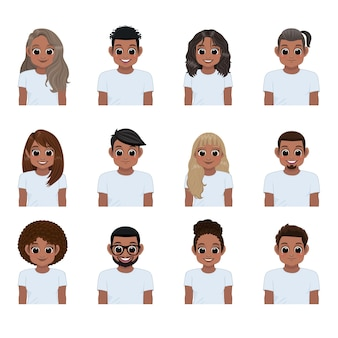 分離された白いtシャツの若い黒人のセット。アフリカ系アメリカ人の女の子と男の子のコレクション