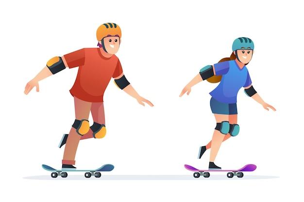 Набор иллюстрации шаржа скейтбординга мальчика и девочки