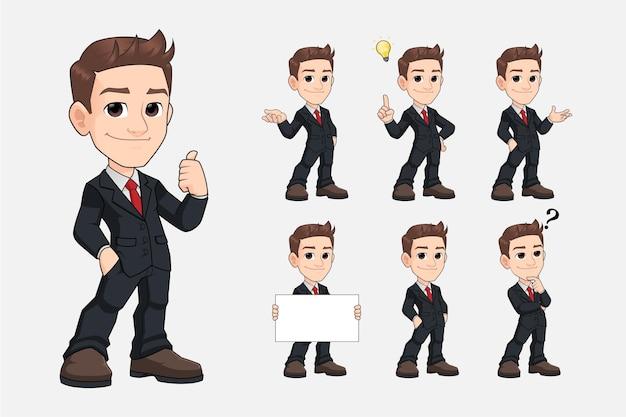 黒のスーツプレミアムベクトルの若いビジネスマン漫画マスコットキャラクターのセット
