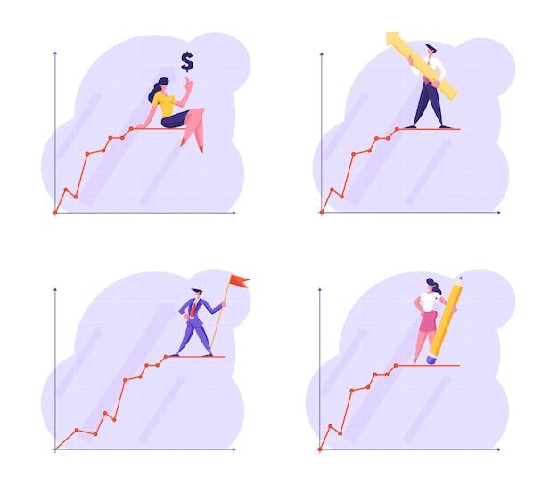 젊은 사업 사람들의 집합 금융 성장 차트 선 위에 서