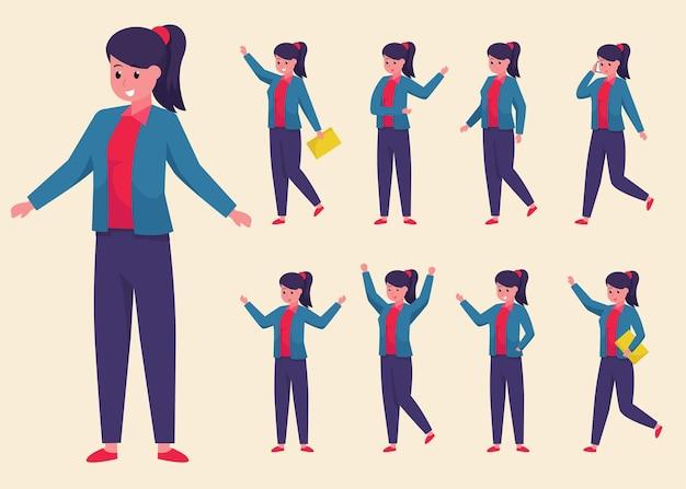異なる姿勢、漫画のキャラクターでスーツとズボンを身に着けている若い実業家のセット
