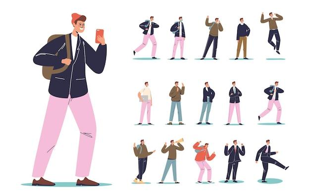 Набор молодых мультипликационных студентов-хипстеров, беседующих в смартфоне в различных жизненных ситуациях: опоздавший бизнесмен, подчеркнутый и сердитый человек, парень с ноутбуком и рюкзаком. плоские векторные иллюстрации