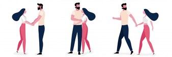 一緒に恋に若いカップルのライフスタイルのセット