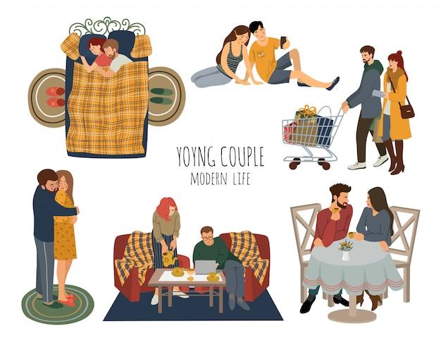 一緒に時間を過ごす愛の若いカップルのセット