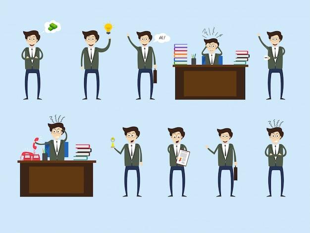 비즈니스 개념에 대 한 다른 식에서 젊은 기업가의 집합입니다.