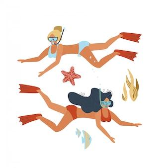若い女性ダイバーのセット。水中を泳ぐ水着の2人の女性。アクティブなレクリエーション。スキューバダイビングとシュノーケリング。フラット手描きイラスト。
