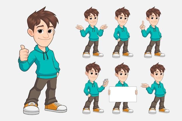 カジュアルな服のプレミアムベクトルで若い男の漫画のマスコットキャラクターのセット