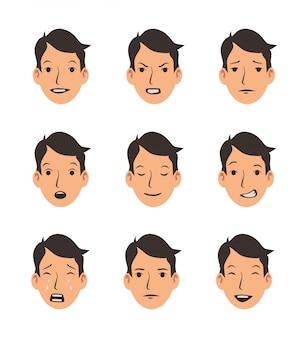 Набор лиц молодого человека с разными эмоциями. emoji, коллекция смайлов. плоский рисунок. изолированные на белом фоне.