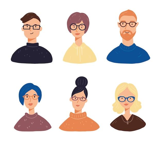 다른 머리, 옷, 안경 젊은 사람들이 캐릭터 아바타의 집합입니다. 사람들은 웃는 얼굴을 가지고 있습니다.